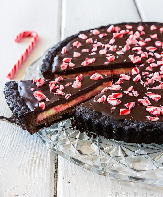 Christmas Candy Cane Chocolate Tart by raspberri cupcakes, via Flickr