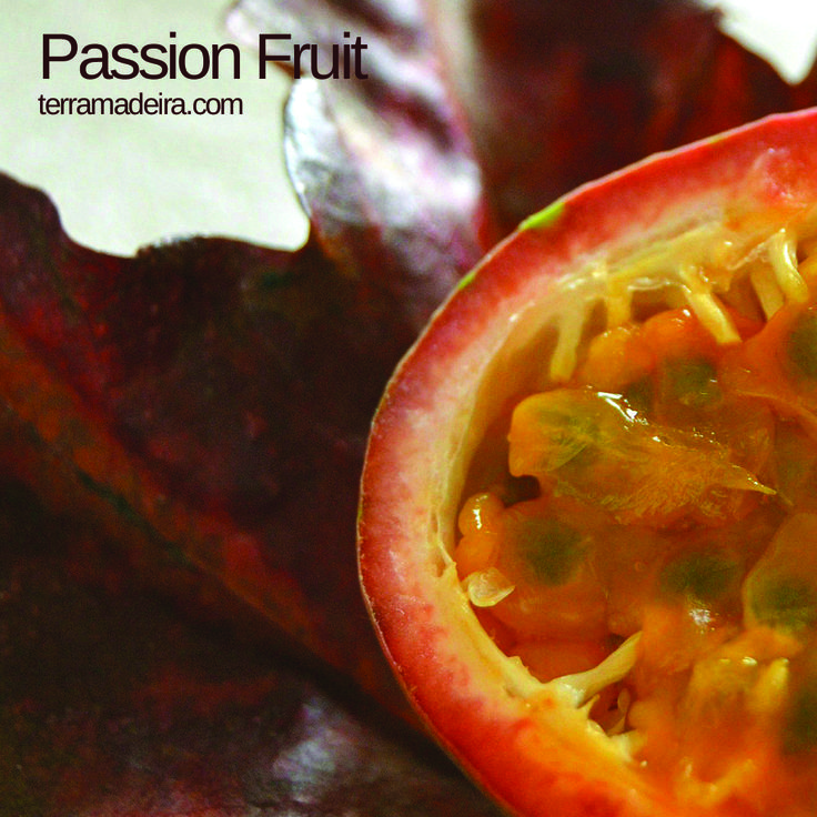 passion fruit is a round shaped fruit  with a leathery purple or green skin. Some passion fruits are sweeter than others. The fruit contain a yellow pulp with edible black seeds. This fruit can be eaten fresh and it's pulp is common used for desserts, exotic dishes, concentrated juices and others... #terramadeira