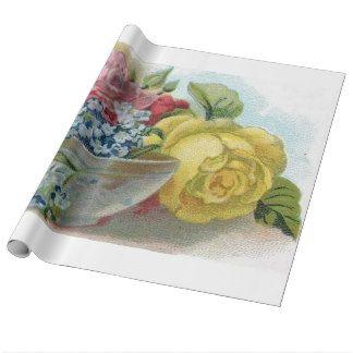 Kleurrijke Vintage Bloemen vergeet me niet Rozen Cadeaupapier