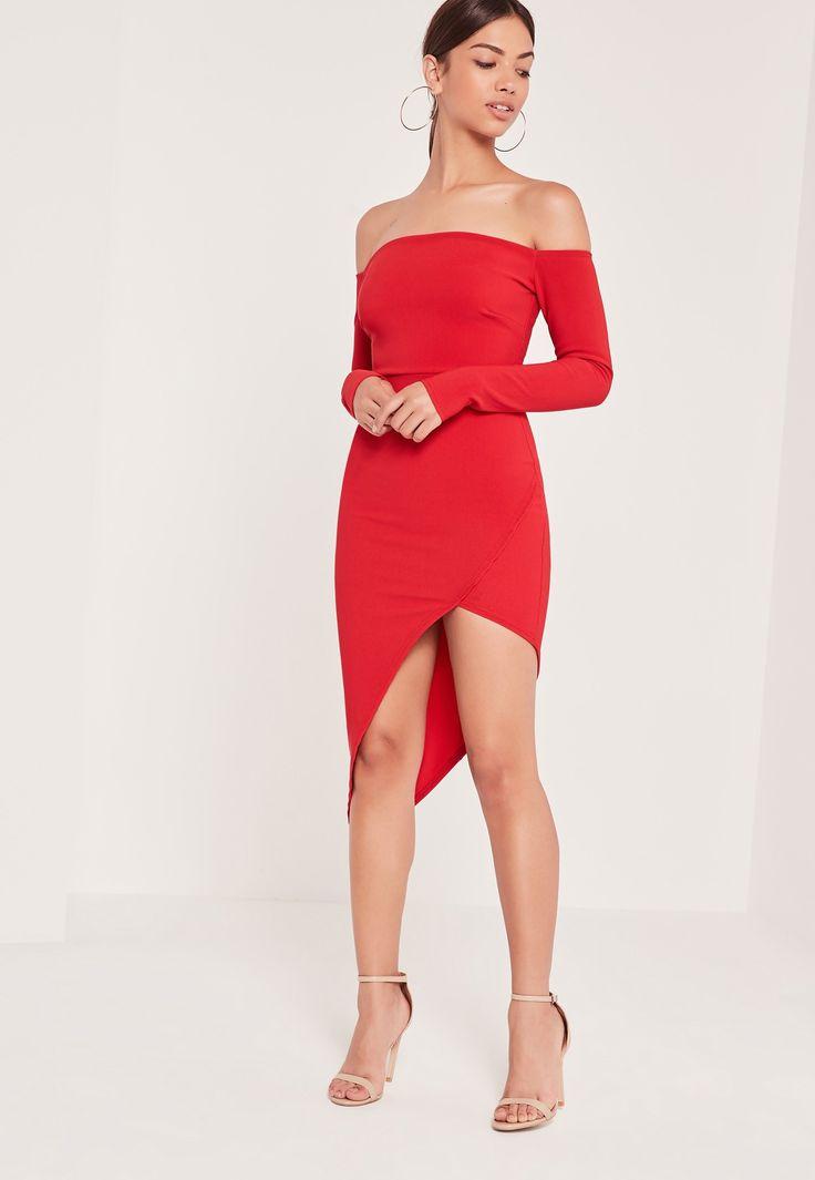 Missguided - Ribbed Bardot Asymmetric Wrap Dress Red