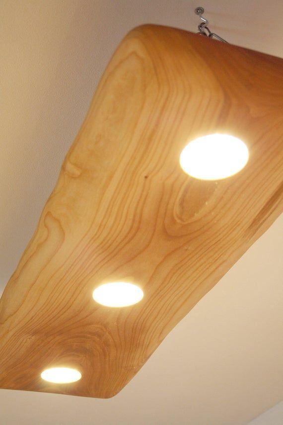 Wood Led Spot Light With Live Edge Cherry Wood Slab Wood Image 5