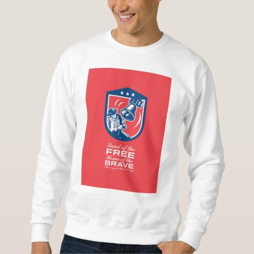 Patriots Day Greeting Card American Patriot Ringin Pull Over Sweatshirts. Patriots Day greeting card featuring an illustration of an American Patriot ringing liberty bell set inside crest shield with stars on isolated background done in retro woodcut style with the words Land of the Free, Home of the Brave, Have a Great Patriot's Day. #illustration #PatriotsDayGreetingCardAmericanPatriot
