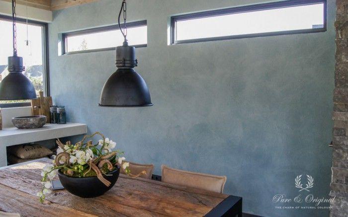 Brocante Wandplank Keuken : Achterwand Fresco #kalkverf kleur Polar Blue en kalkzeep. Gerealiseerd