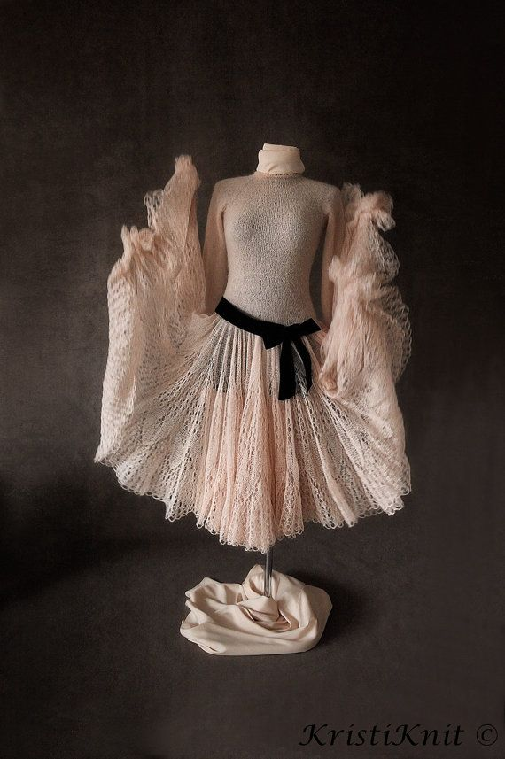 Fabulous handmade dress from mohair yarn. You will feel like a fairy tale princess - guaranteed