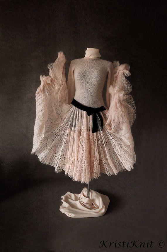Fabulous handmade dress from mohair yarn. You will feel like a fairy tale princess - guaranteed