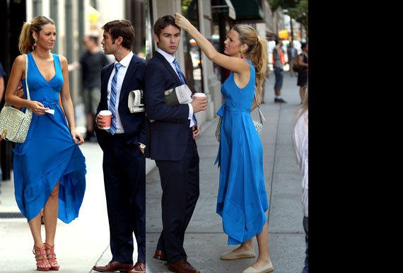Blake Lively wears comfy flats on Gossip Girl set, confirms she is indeed human.