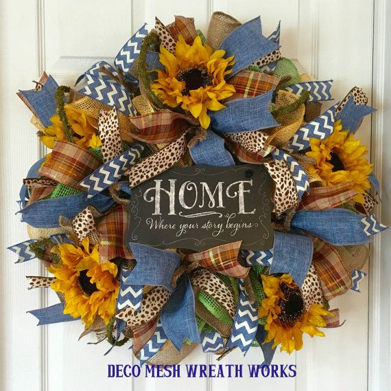 Farmhouse Wreath Sunflower Wreath Burlap by DecoMeshWreathWorks