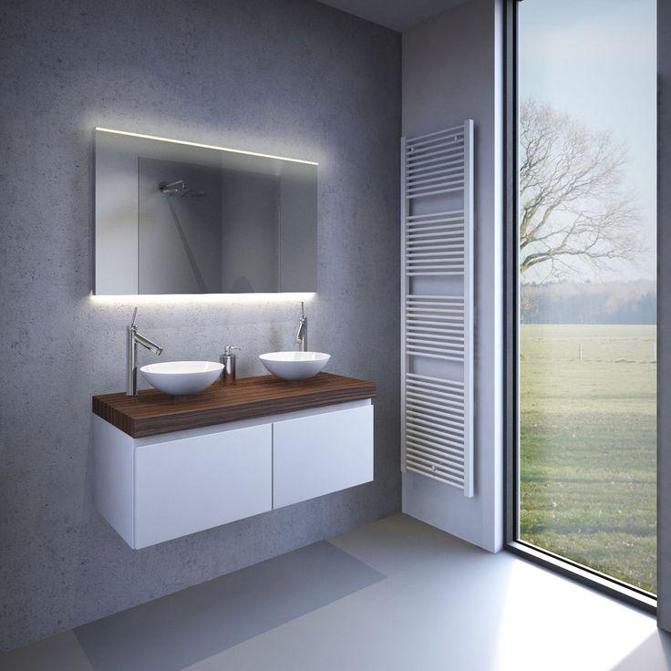 Spiegel voor in de badkamer met dimbare LED verlichting (warm wit)