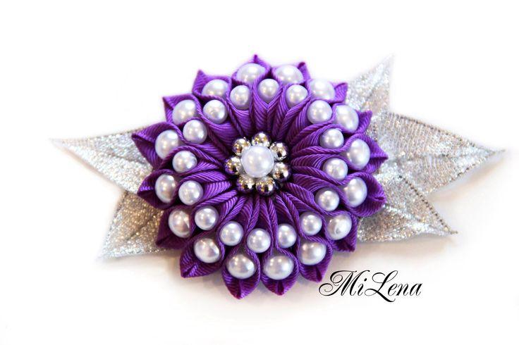 Цветок с бусинами / Пошаговый МК / DIY Ribbon flower / DIY Flower with b...