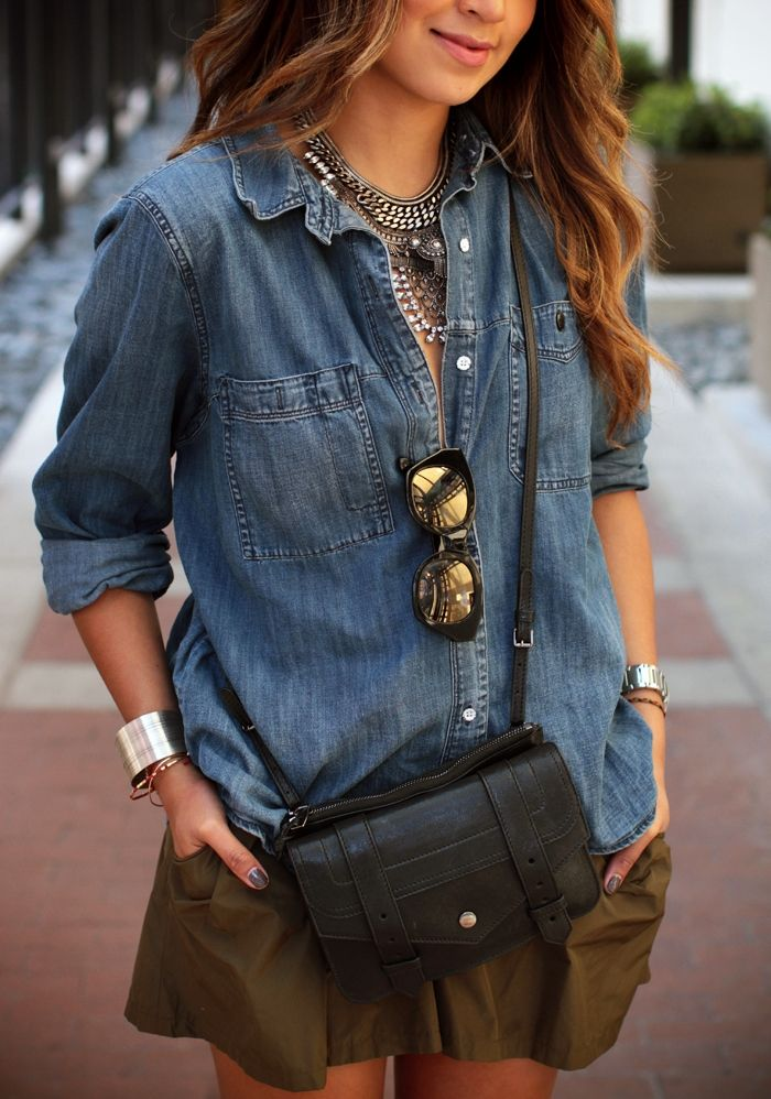metal statement necklace sincerely jules denim blouse reflector sunglasses