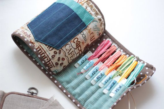 Floss Holder Roll Case Project Bag For Cross Stitch