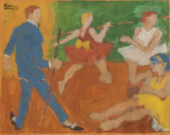 fikret mualla - dans / Resimdeki bistronun da alkolle, sanatçının alkolizmiyle bir ilişkisi olmadığı gibi kadınların, erkeklerin, çocukların özel, kişisel karakterleri yoktur ve resme bir kişi olarak değil, resmin öğesi olarak girmişlerdir.