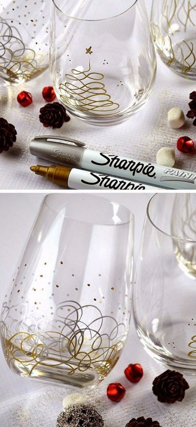 DIY Gift for the Office - Sharpie Paint Pens Glasses - DIY Gift Ideas for Your Boss and Coworkers - Cheap and Quick Presents to Make for Office Parties, Secret Santa Gifts - Cool Mason Jar Ideas, Creative Gift Baskets and Easy Office Christmas Presents ht