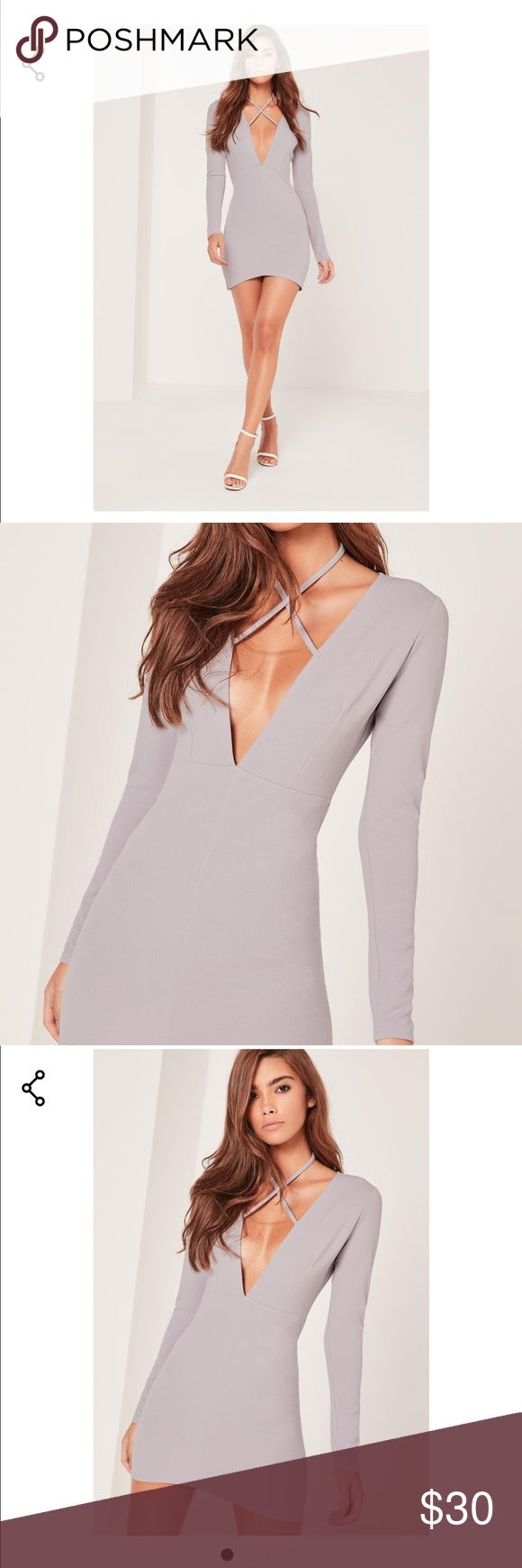 Brand New White* (not grey) Missguided dress sz4 Brand new with tags Missguided white plunging dress. Only used the stock photo that was grey but it's the same dress in white. Size 4 Missguided Dresses Mini