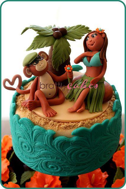 Monkey & Hula Girl Wedding Cake by Natty-Cakes (Natalie). Love this cake! Fantastic work!!