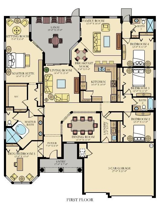 This Floor Plan Has Everything I Want 4 Bedrooms With One Being A Guest Extra Space For Sewing And Computer Spaces Formal Informal Living Areas But