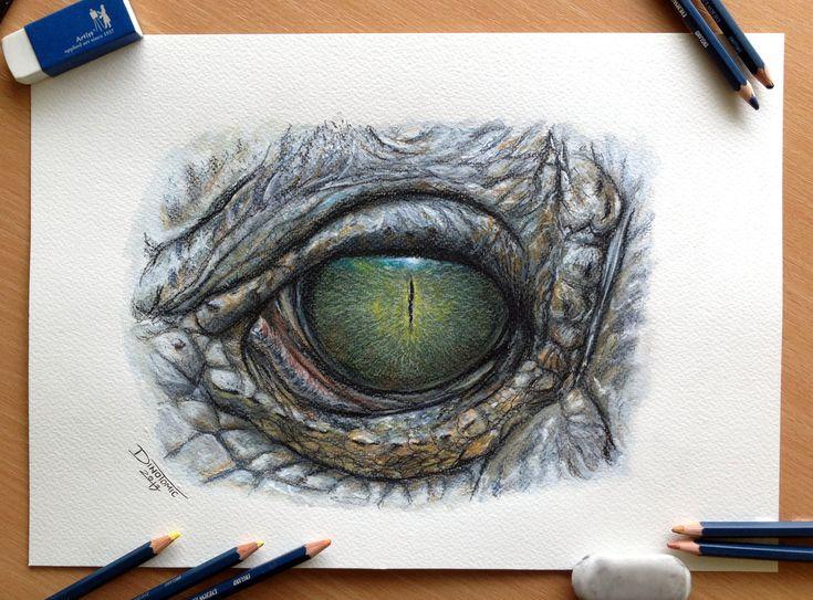 Crocodile Eye Color Pencil Drawing by AtomiccircuS.deviantart.com on @deviantART