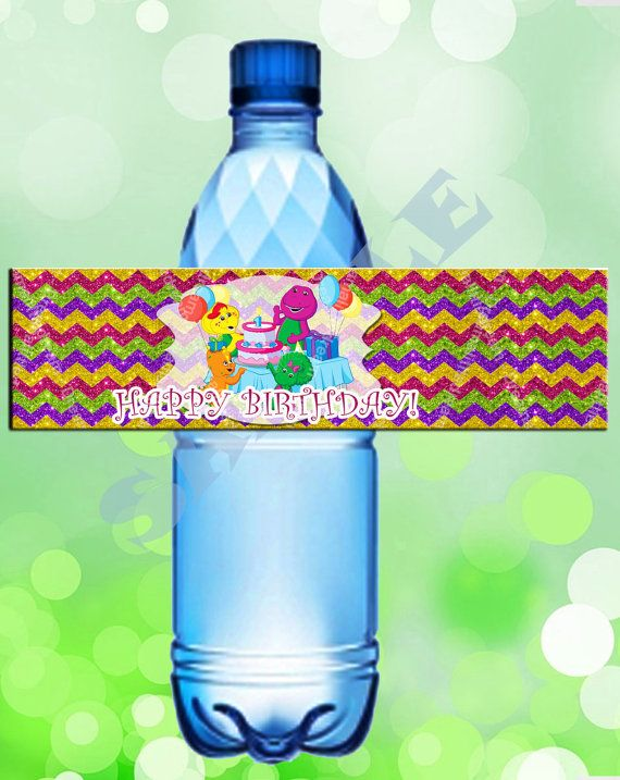 Barney the Dinosaur Bottle Labels by DreamalittleCraft on Etsy, $2.00