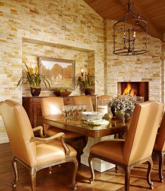 Comedor con pared de piedra pisos y fachaletas pinterest - Interiores de piedra ...