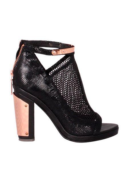 GINGER & SMART - Interweave Booties - Heels - Black - Leather - Mesh - Snake Suede - Peep Toe - High Block Heel $459.00