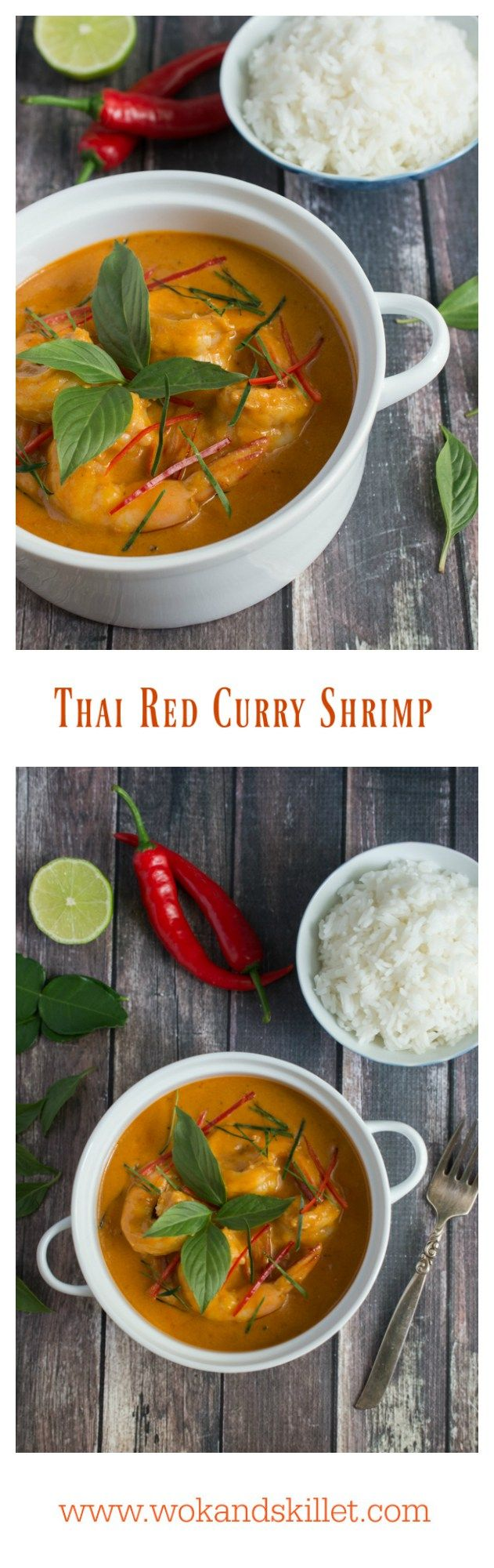 Creamy, silky and incredibly tasty Thai Red Curry Shrimp will be your new go-to dish. It takes just minutes to put together and tastes even better than takeout!