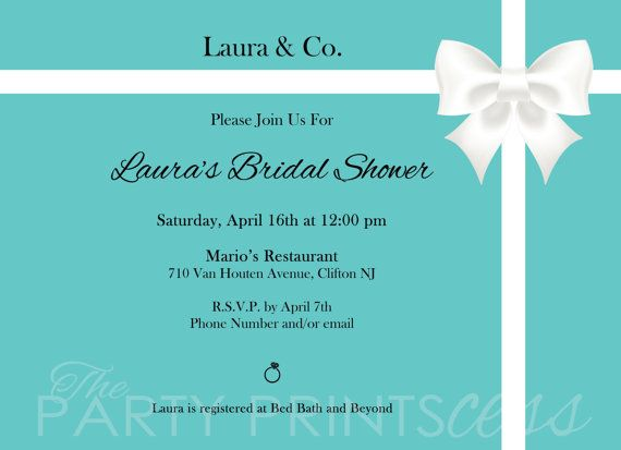 Tiffany Bridal Shower Invitation by ThePartyPrintscess on Etsy