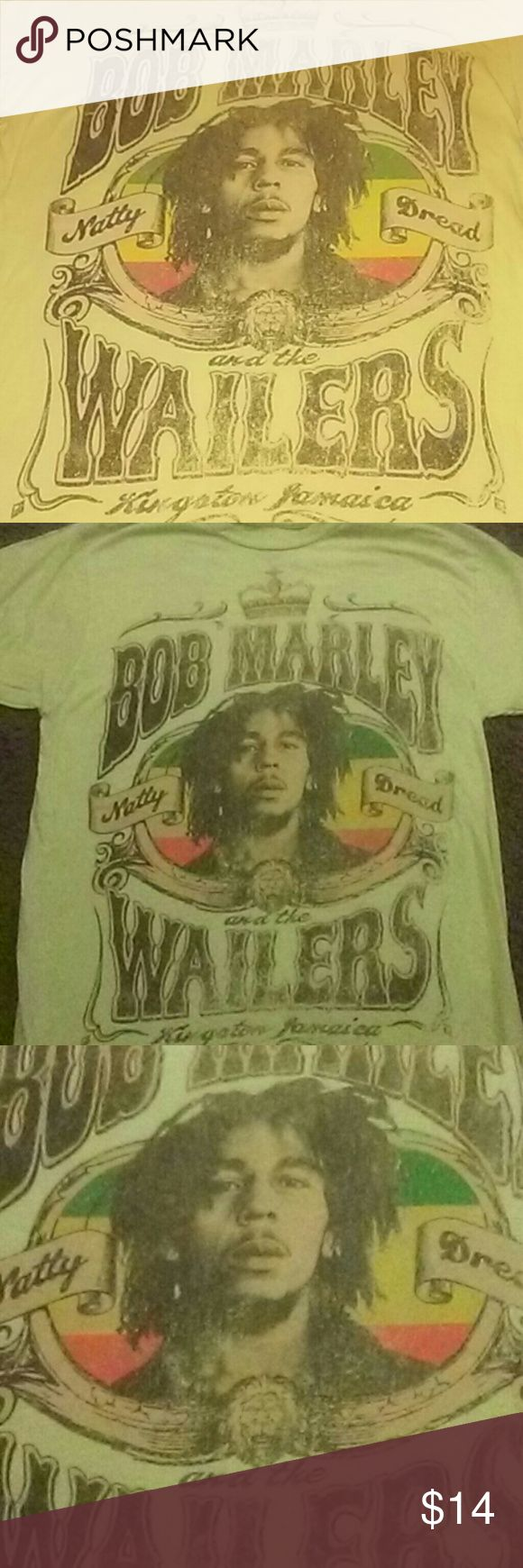 "Bob Marley ""Natty Dread"" T-shirt -Lg Mens Gently used Bob Marley T-shirt. Pale yellow with a faded vintage look and feel to it. Very unique and MUST HAVE T-shirt for all Marley fans!! Says ""Natty Dread"" on side of his face and Bob Marley and  the Wailers Kingston Jamaica. Zion Rootswear Shirts Tees - Short Sleeve"