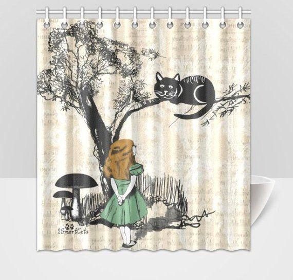 Alice In Wonderland And Cheshire Cat Shower Curtain Cat Shower