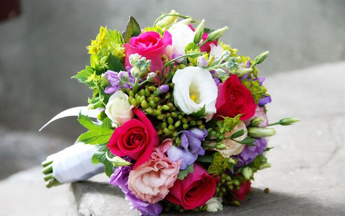 Download wallpapers wedding bouquet, roses, eustoma, bouquet of the bride, bouquet of roses