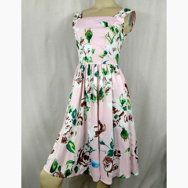 FLOWER & RAIN CLOTHING vintage retro pink floral brown roses dress Womens Small | Clothing, Shoes & Accessories, Women's Clothing, Dresses | eBay!