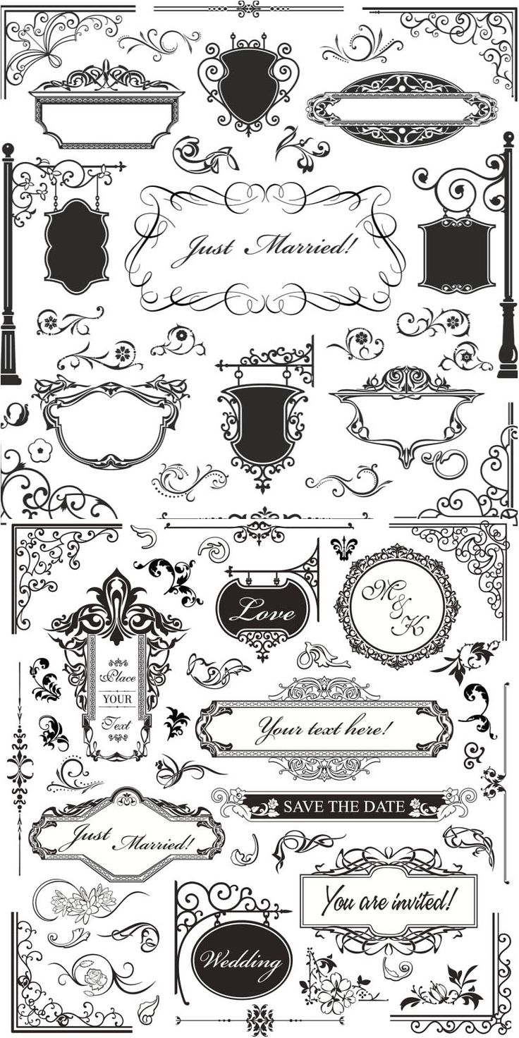 Elegant royal frame with crown vector colourbox - Set Of Vector Vintage Ornamental Elements With Corners And Frames In Classic Style For Decorating
