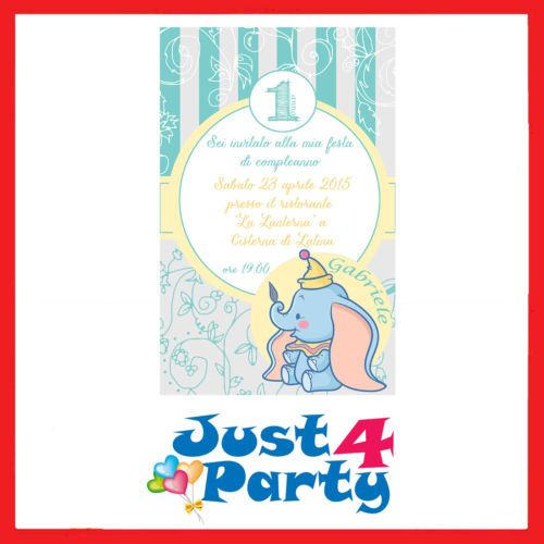 Inviti-festa-Disney-Dumbo-30-INVITI-per-compleanno-personalizzabili