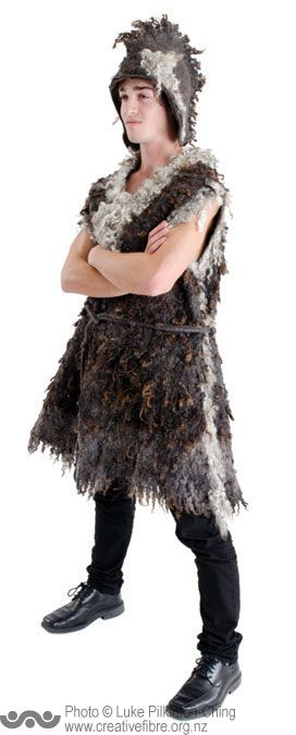 BLACK & COLOURED SHEEP BREEDERS' ASSN AWARD (For an outstanding and innovative entry using 100% natural black and coloured wool, with no more than 20% over dyed) --- Baa Baa Bloke Sheep (Lynn Evans, Tawa) --- Shepherd's tunic and mowhawk using raw wool and Gotland fleece.