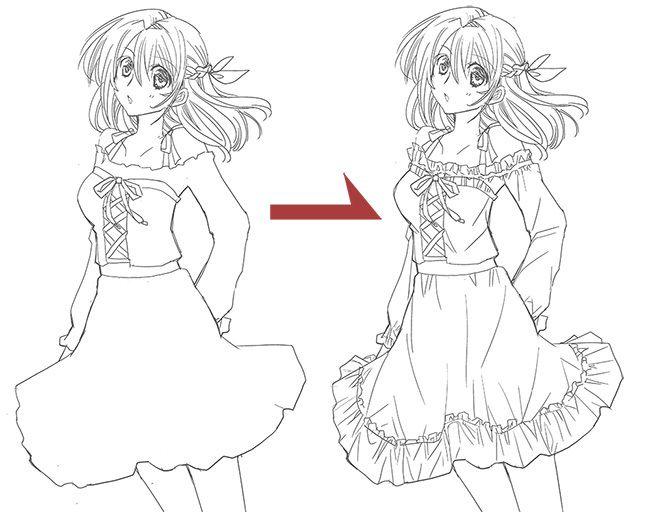 服 しわ シワ ドレス 描き方 イラスト  Drawing Fabric Folds Drapery Clothes Dress Tutorial Illustration