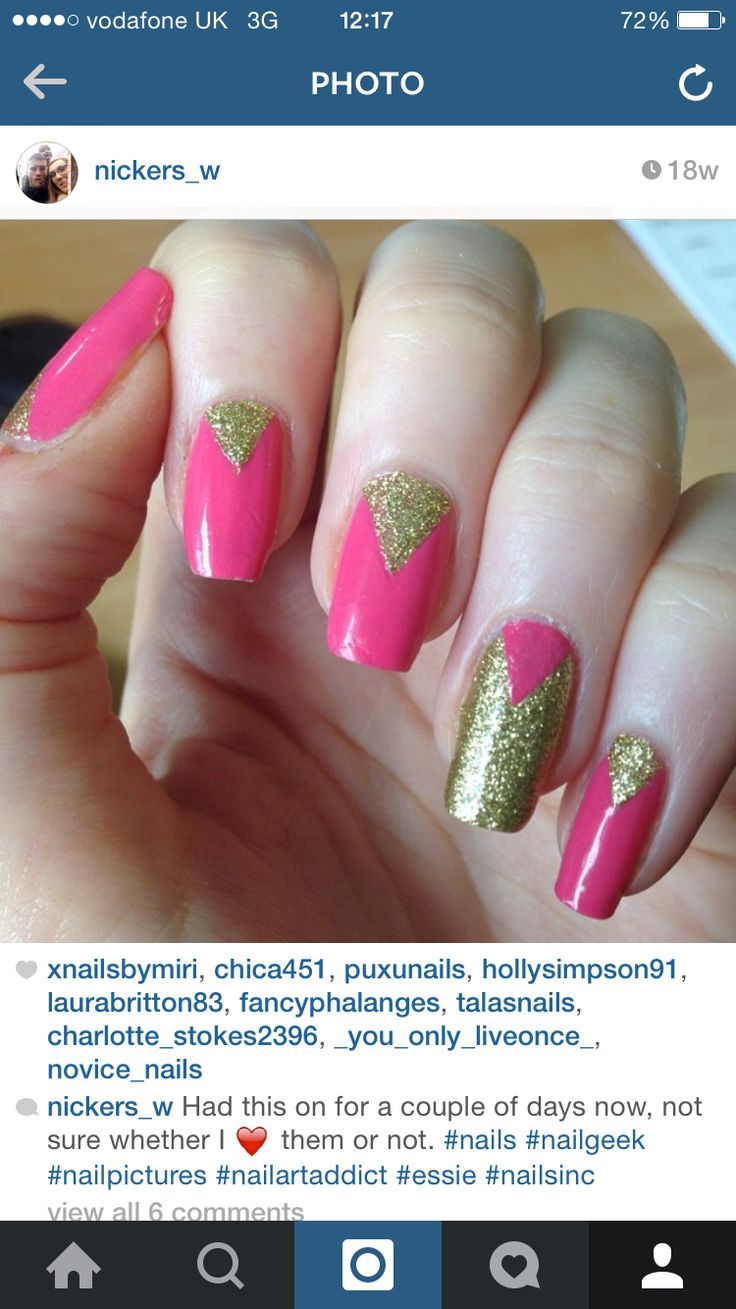 Pink and gold tape mani