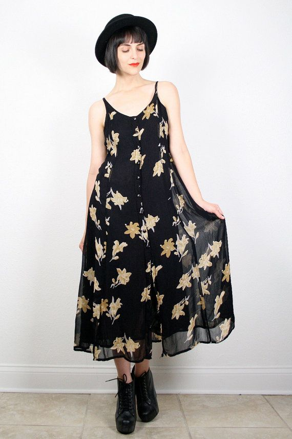 Vintage Grunge Dress Black Floral Print Dress by ShopTwitchVintage