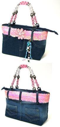 Kids Denim purse w/ Pink Belt