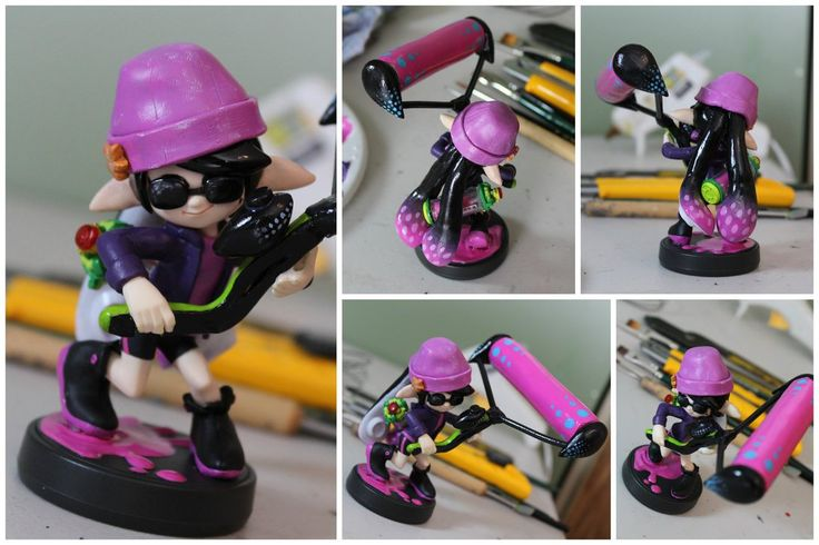 Custom Agents (Callie & Marie) Amiibo, based on their appearance in the single player of Splatoon! (These are the extra shots of Callie) [Made with: Super Sculpey Firm, Winsor & Newton acry...