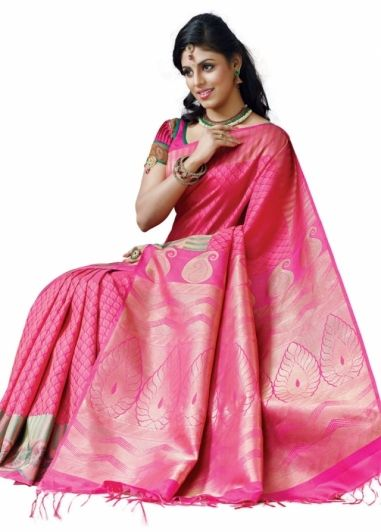 Pink Colored Body with Same Colored Stylish Border Pure Kanchipuram Bridal Silk Saree http://www.shreedevitextile.com/women/sarees/silk-saree/shree-devi/pink-colored-pure-kanchipuram-silk-saree