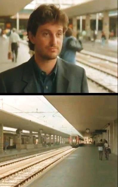 """""""E' lì alla #stazione pensai che i treni son fatti apposta per gli addii: partono piano, lenti lenti; tu hai tutto il tempo per #pensare a chi sta partend"""" #cinema #film #quotes Levante - Il Ciclone [1996]"""""""