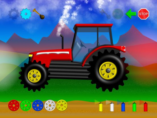 Happy Tractor, Start/Stop, Honk Horn and change colors