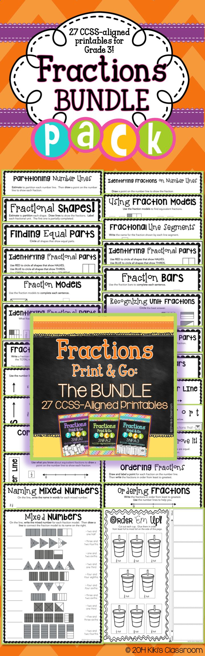 """Grade 3 Fractions! """"Excellent bundle! I'm so pleased with this product. It's got everything I need to help my students become proficient on the CC fractions standards."""""""