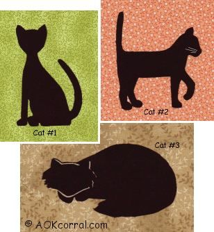Cat Quilt Patterns | Cat Applique Patterns for Quilts, Embroidery & Crafts
