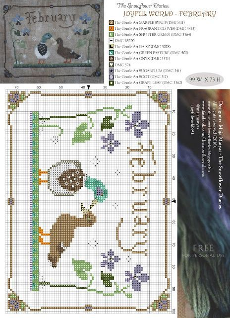 Dear Stitchers, I am happy to share the February pattern of my primitive cross stitch calendar SAL, Joyful world. I hope you will like my little ducks:-))) It is absolutely free for personal use. Happ