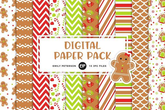 Gingerbread Digital Papers by Emily Peterson Studio on @creativemarket Perfect for product design, gift wrapping, crafts, room decor, invitations, greeting cards, tags, labels and so much more. **Affiliate Link**