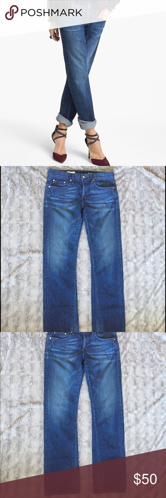 """AG Adriano Goldschmied Tomboy boyfriend fit jeans Adorable AG boyfriend fit jeans. Wash looks more like last picture as first few pics were taken in bright sunlight. 29W, measures almost 17"""" across when lying flat, 34"""" inseam, and has a 9"""" rise. Super sturdy and soft. AG Adriano Goldschmied Jeans Boyfriend"""