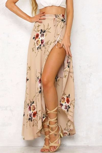 Obviously No crop top... but love the high slit skirt and with nude booties