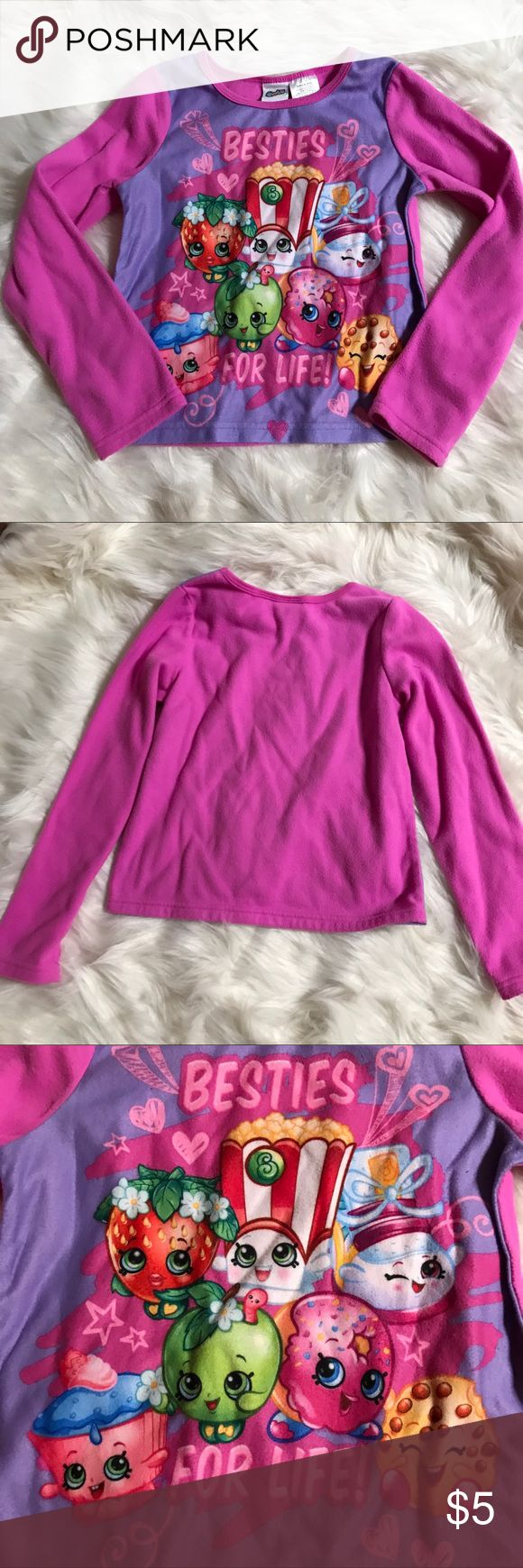 """🍉Besties For Life Shopkins Pajama Top Super cute shopkins pajama top. This listing is just for the top, the bottoms are not available. In good condition. Size girls 7/8. This is a buy two get one free item!  To get this deal add the three items you want that has a """"🍉"""" in front of the title into a bundle. Then offer the price of the two of the items. Pajamas Pajama Tops"""