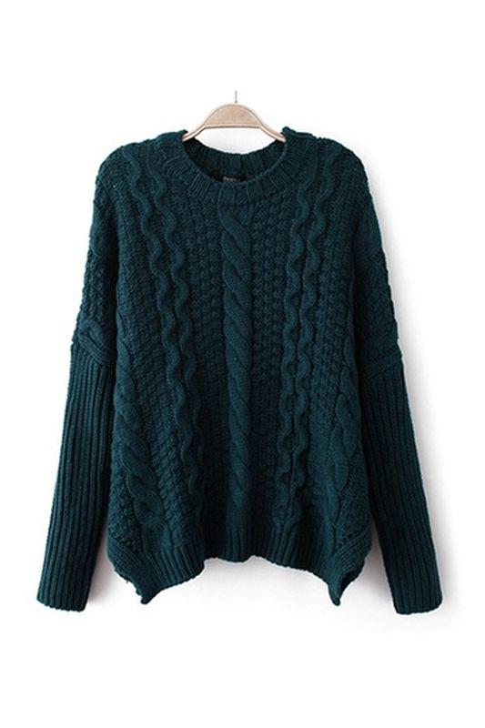 Deep teal mixed pattern Bershka sweater