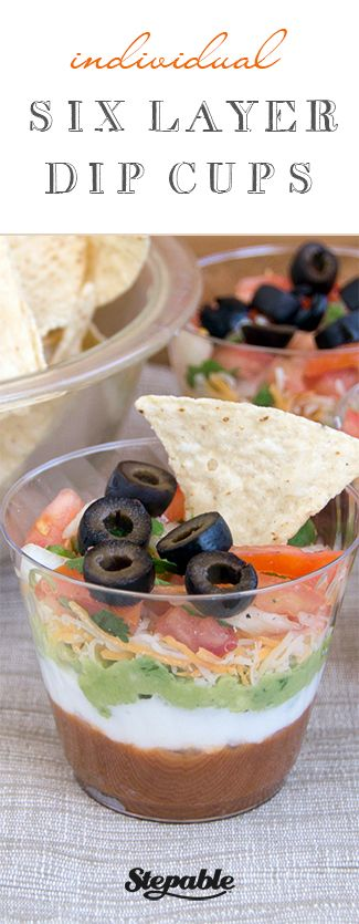Individual+Six-Layer+Dip+Cups+@stepable+#recipes